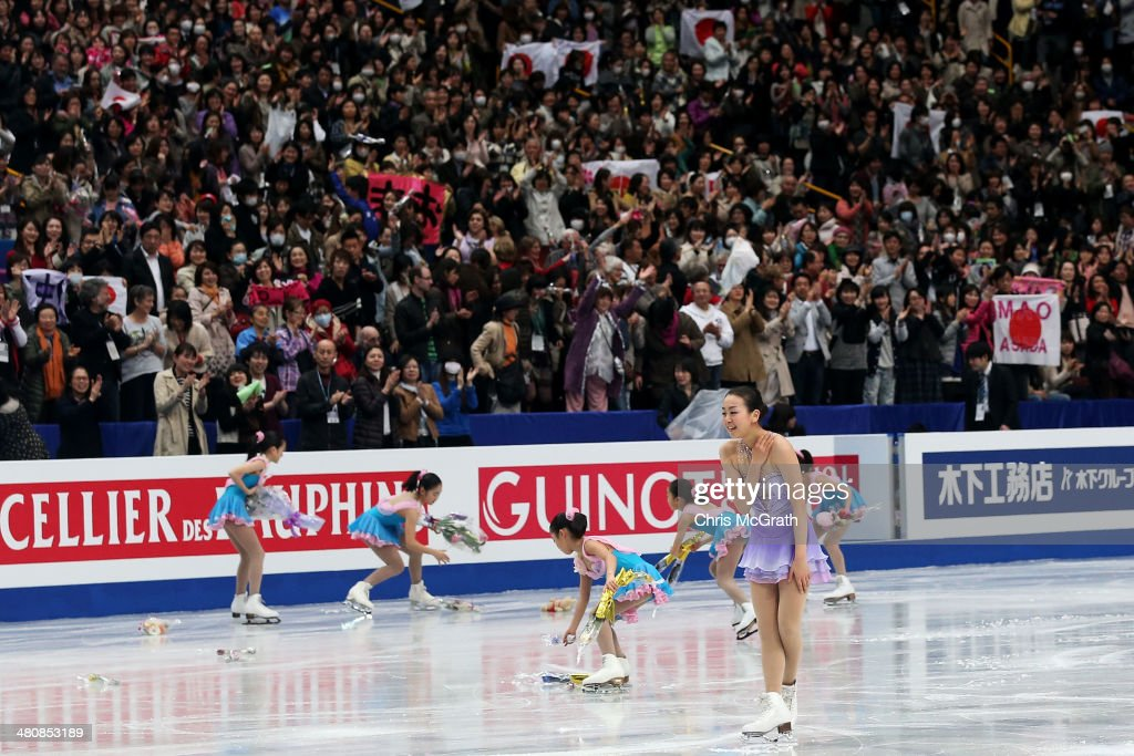 The crowd cheers as <a gi-track='captionPersonalityLinkClicked' href=/galleries/search?phrase=Mao+Asada&family=editorial&specificpeople=247229 ng-click='$event.stopPropagation()'>Mao Asada</a> of Japan finishes her routine in the Ladies Short Program during ISU World Figure Skating Championships at Saitama Super Arena on March 27, 2014 in Saitama, Japan.