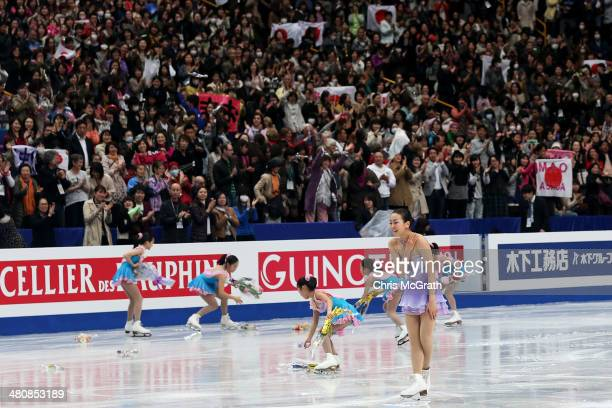 The crowd cheers as Mao Asada of Japan finishes her routine in the Ladies Short Program during ISU World Figure Skating Championships at Saitama...