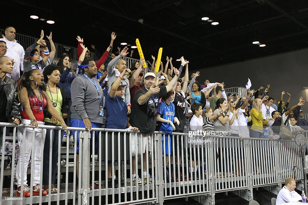 The crowd cheers as the celebrities are announced during the Celebrity Shooting Stars on center court at Jam Session during the NBA All-Star Weekend on February 26, 2012 at the Orange County Convention Center in Orlando, Florida.