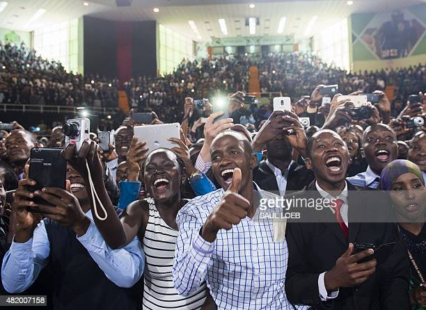 The crowd cheers as US President arrives to speak at Safaricom Indoor Arena in Nairobi on July 26 2015 US President Barack Obama arrived on July 24...