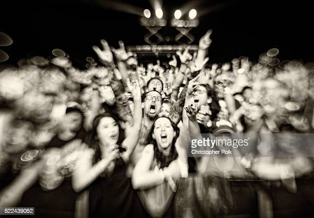 The crowd cheers on day 2 of the 2016 Coachella Valley Music Arts Festival Weekend 1 at the Empire Polo Club on April 16 2016 in Indio California