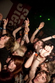 The crowd during the Bury Tomorrow performance on stage at Stealth during the Hit The Deck music Festival on April 22 2012 in Nottingham United...