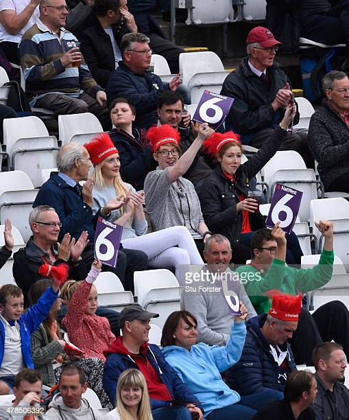 The crowd enjoy a six hit during the NatWest T20 blast between Durham Jets and Lancashire Lightning at Emirates Durham ICG on June 25 2015 in...