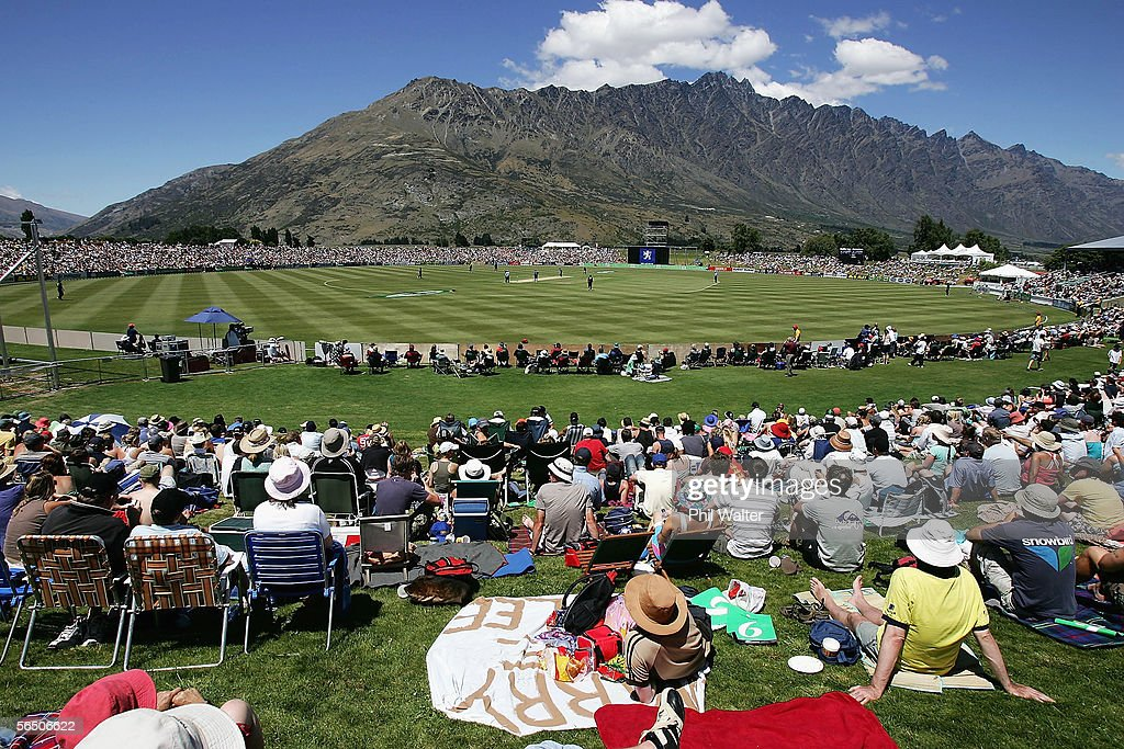 The crowd enjoy the action and the view of the Remarkables Mountains during the first One Day International match between New Zealand and Sri Lanka...