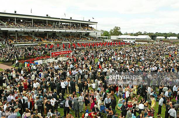 The crowd enjoy the atmosphere during the 2009 Melbourne Cup Day meeting at Flemington Racecourse on November 3 2009 in Melbourne Australia
