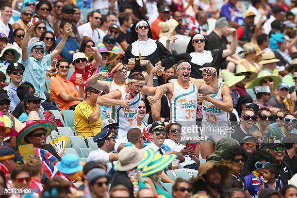 The crowd enjoy the atmosphere during the 20146 Sydney Sevens match between England and Japan at Allianz Stadium on February 6 2016 in Sydney...