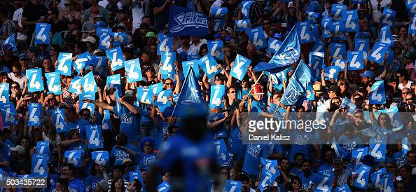 The crowd enjoy the atmosphere during the Big Bash League match between the Adelaide Strikers and Perth Scorchers at Adelaide Oval on January 5 2016...