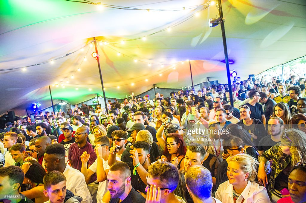 The crowd enjoy the atmosphere on Day 1 of Lovebox Festival at Victoria Park on July 15, 2016 in London, England.