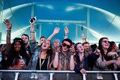 the crowd enjoy the music at T In The Park at Strathallan Castle on July 10 2016 in Perth Scotland