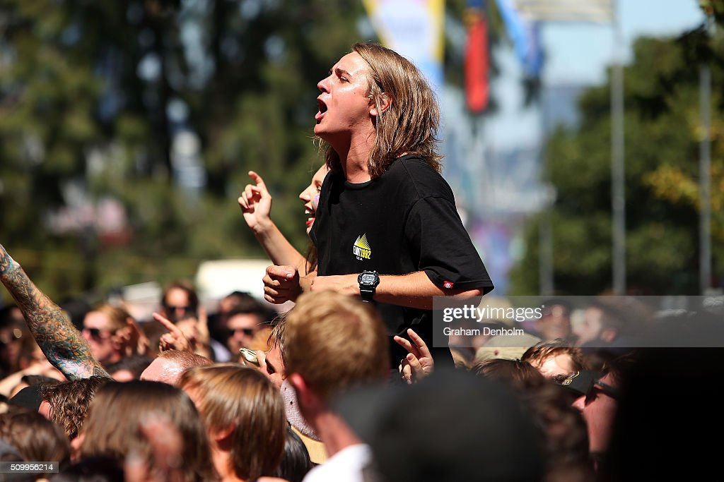 The crowd enjoy the show at St Jerome's Laneway Festival on February 13, 2016 in Melbourne, Australia.