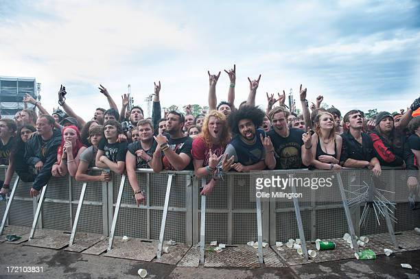 The Crowd enjoying the atmosphere on Day 1 of The Download Festival at Donnington Park on June 14 2013 in Donnington England