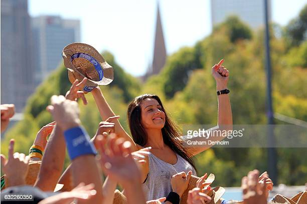 The crowd enjoys the show as Peking Duk perform at AO Open Sessions during day six of the 2017 Australian Open at Melbourne Park on January 21 2017...
