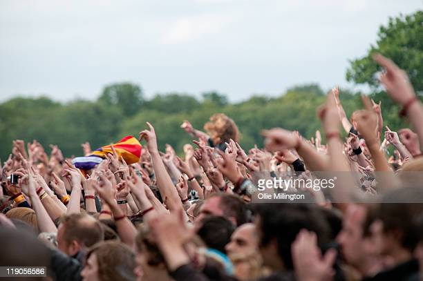 The crowd for the Megadeth performance at Sonisphere Festival at Knebworth House on July 8 2011 in Stevenage England