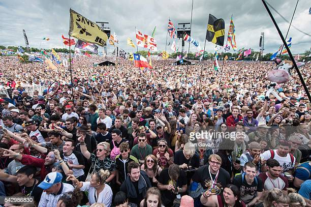 the crowd gather at the Pyramid Stage on day 2 of the Glastonbury Festival at Worthy Farm Pilton on June 25 2016 in Glastonbury England Now in its...