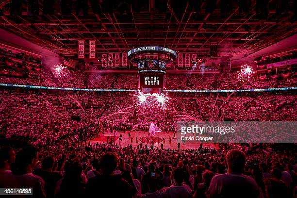 TORONTO ON APRIL 22 The crowd gets worked upat the ACC as the excitement for game two builds before game two between the Toronto Raptors and the...