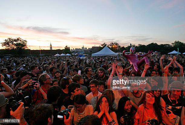 The crowd holds up a performer as of Montreal performs during Northside Festival 2012 Day 2 on June 15 2012 in the Brooklyn burough of New York City