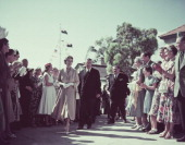 The crowd in Waitangi greeting Queen Elizabeth II during her Commonwealth visit to New Zealand January 1954