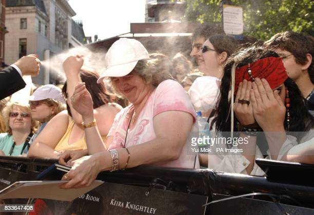 The crowd is cooled down with water will awaiting the arrival of Johnny Depp cast ahead of the European premiere of Pirates of the Caribbean Dead...