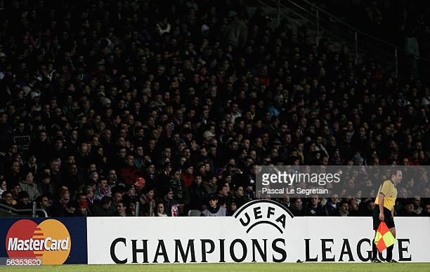 The crowd is seen during the UEFA Champions League football match between Olympique Lyonnais and Rosenborg BK in Gerland Stadium on December 6 2005...