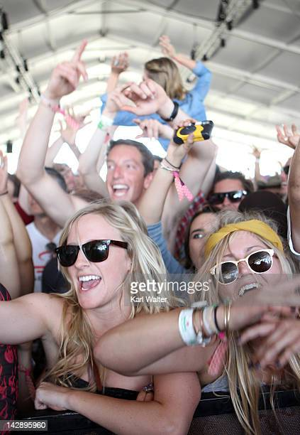 The crowd is seen watching Azealia Banks onstage during day 2 of the 2012 Coachella Valley Music Arts Festival at the Empire Polo Field on April 14...