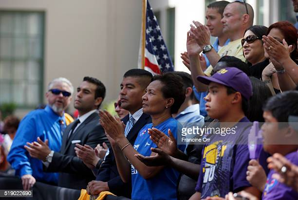 The crowd listens to former President Bill Clinton stumping for Democratic presidential candidate Hillary Clinton at the Los Angeles Trade Technical...