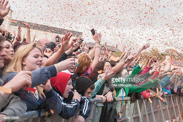The crowd look on during a special one off collaboration with Labrinth and The Script on Day 3 of Radio 1's Big Weekend Festival on May 26 2013 in...