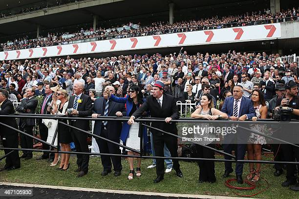 The crowd look on during Golden Slipper Day at Royal Randwick Racecourse on March 21 2015 in Sydney Australia