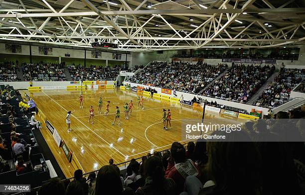The crowd looks on during the week eight Commonwealth Bank Trophy match between the Melbourne Kestrels and the Perth Orioles at the State Netball and...