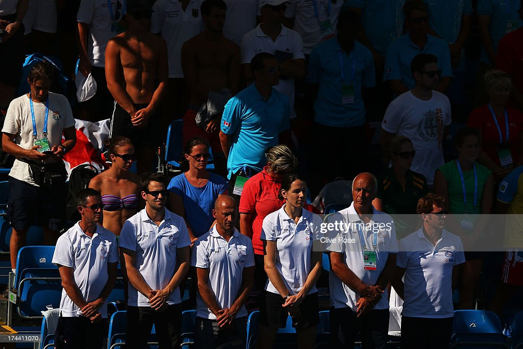 The crowd observe a minutes silence in honour of the Galicia rail derailment that killed 78 on Wednesday ahead of the Women's 10m Platform Diving final on day six of the 15th FINA World Championships at Piscina Municipal de Montjuic on July 25, 2013 in Barcelona, Spain.
