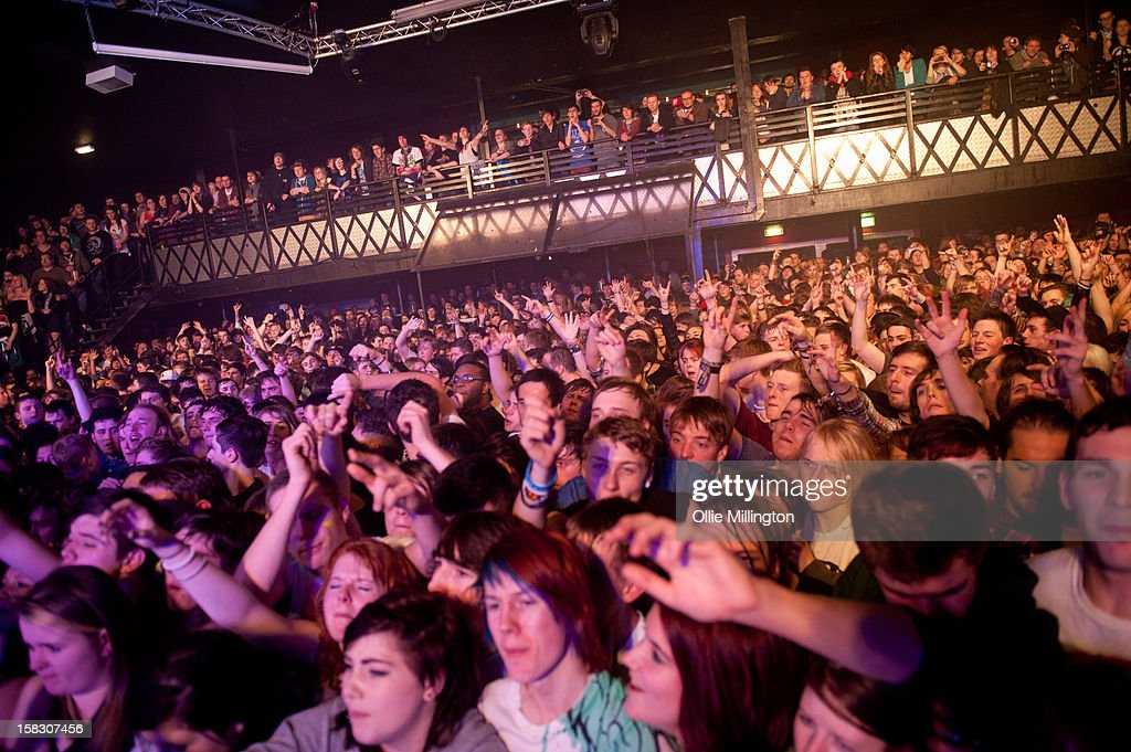 The crowd of Enter Shikari Perform onstage during a day of the 5th UK leg of their A Flash Flood of Colour World Tour called A Flash Flood Of Christmas; at Rock City on December 12, 2012 in Nottingham, England.