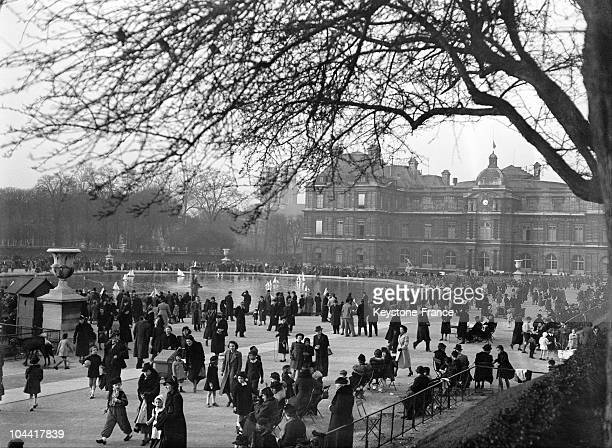 The crowd of walkers in the Luxembourg Gardens March 3 1938