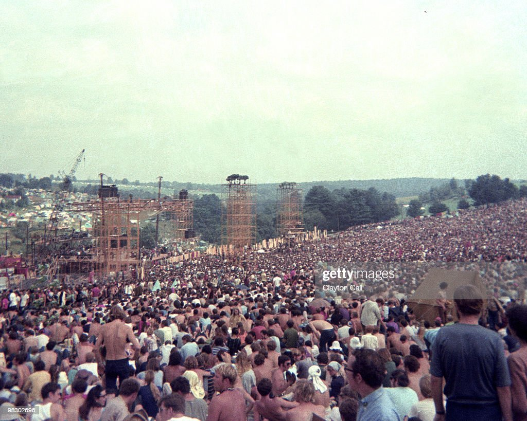 The crowd on day one of the Woodstock Festival on August 15th 1969