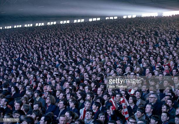 The crowd on the Anfield Kop in Liverpool circa 1970