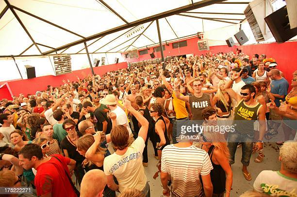 The crowd on the dancefloor Circo Loco DC10 Ibiza 2005