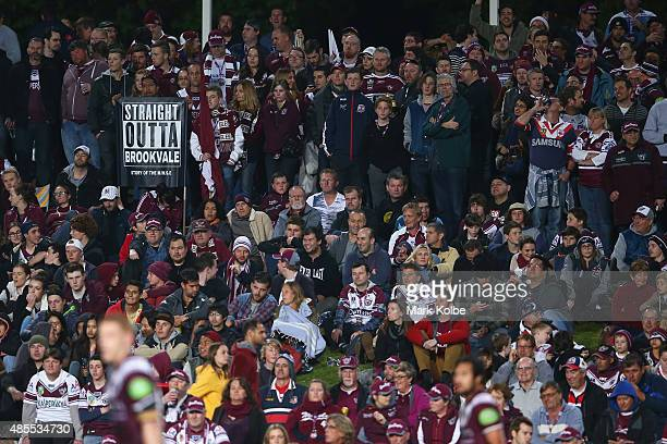 The crowd on the hill watch on during the round 25 NRL match between the Manly Warringah Sea Eagles and the Sydney Roosters at Brookvale Oval on...