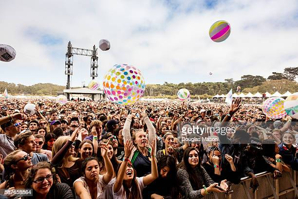 The crowd on the main stage during the Outside Lands Music Festival 2016 at Golden Gate Park on August 7 2016 in San Francisco California