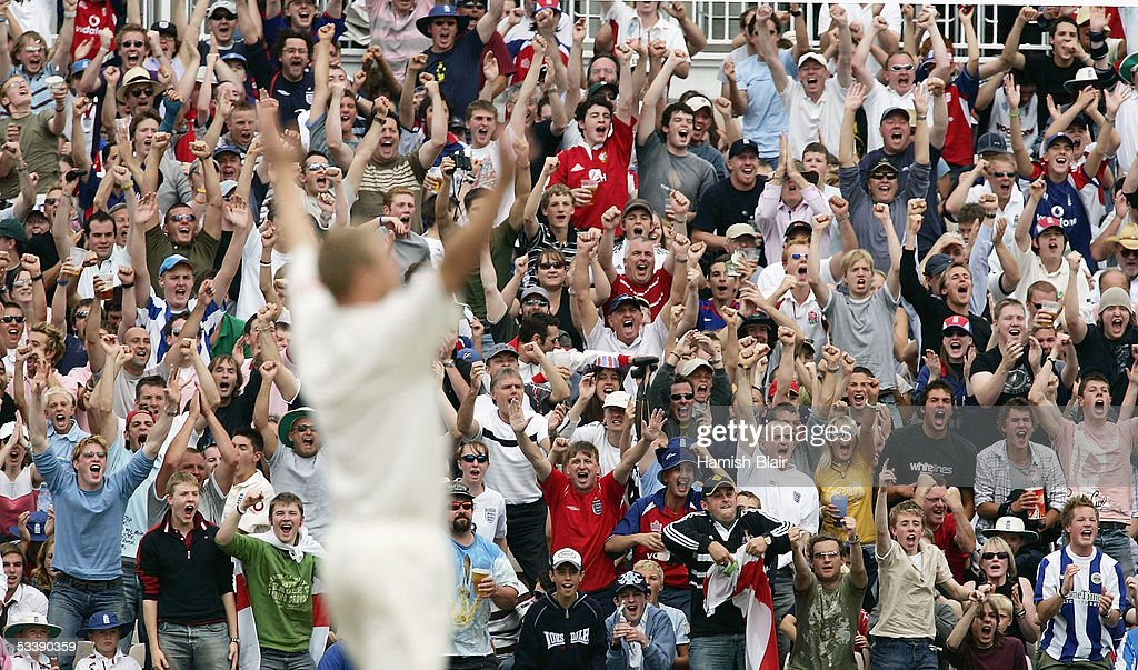 The crowd react as Andrew Flintoff of England takes the wicket of Simon Katich of Australia during day five of the Third npower Ashes Test between...
