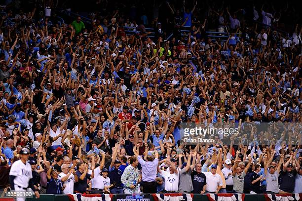 The crowd reacts after a threerun home run by Evan Longoria of the Tampa Bay Rays against the Boston Red Sox in the fifth inning during Game Three of...