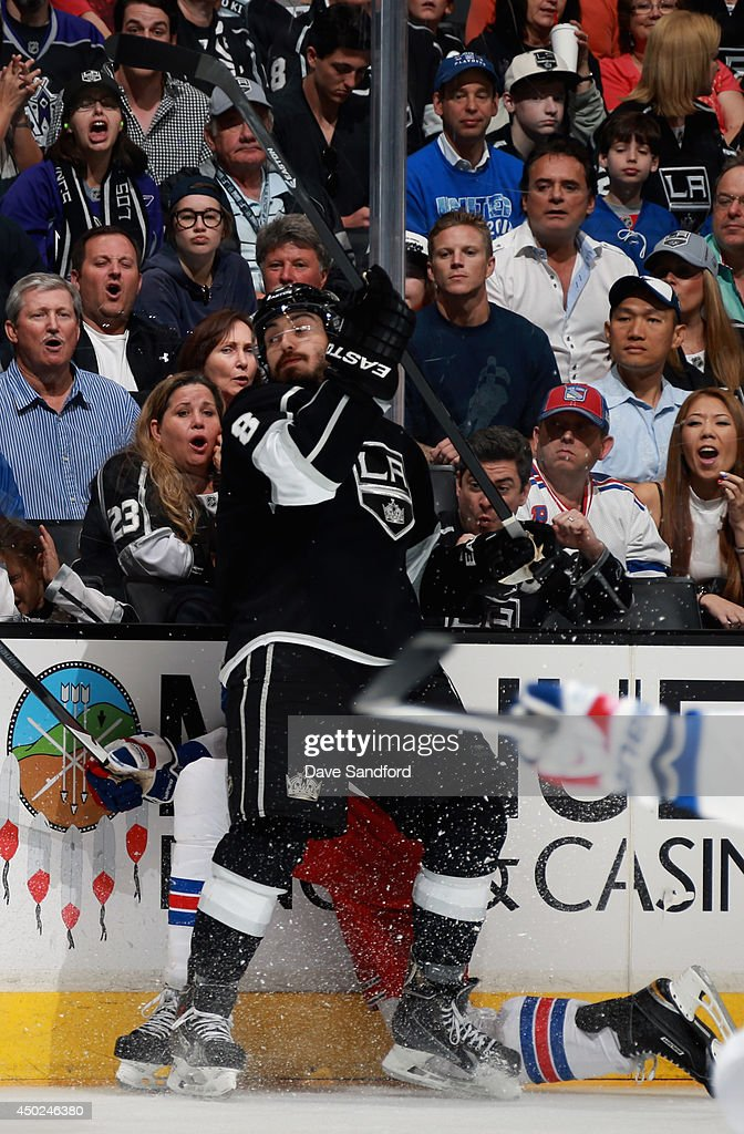 The crowd reacts to a check by <a gi-track='captionPersonalityLinkClicked' href=/galleries/search?phrase=Drew+Doughty&family=editorial&specificpeople=2085761 ng-click='$event.stopPropagation()'>Drew Doughty</a> #8 of the Los Angeles Kings during the third period of Game Two of the 2014 Stanley Cup Final against the New York Rangers at Staples Center on June 7, 2014 in Los Angeles, California.