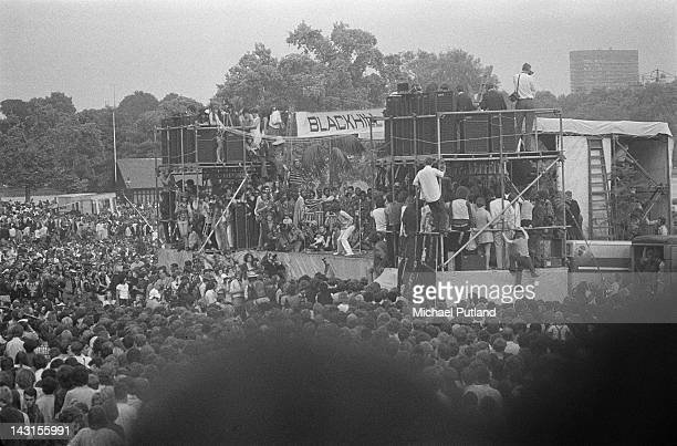 The crowd round the stage at a Rolling Stones concert in Hyde Park London 5th July 1969 The free outdoor concert was a tribute to recently deceased...