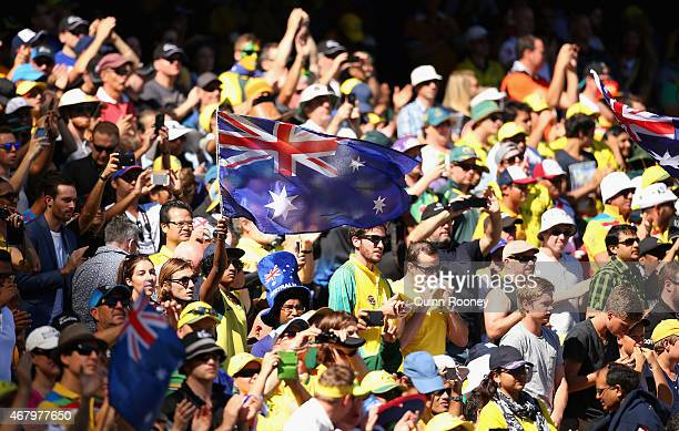 The crowd show their support during the 2015 ICC Cricket World Cup final match between Australia and New Zealand at Melbourne Cricket Ground on March...