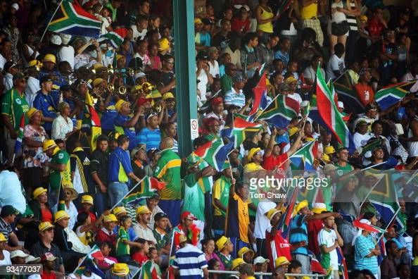 The crowd sing and dance during the 4th One Day International match between South Africa and England at St Georges Park on November 29 2009 in Port...