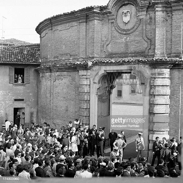 The crowd waiting for the bride and the groom Italian countess Fabrizia Citterio and Italian prince Alessandro Romano Borghese just celebrated their...
