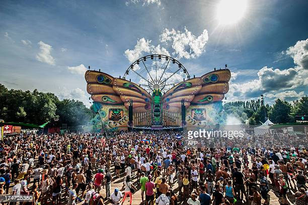 The crowd waits in front of a butterfly stage and a ferris wheel during the third day of the ninth edition of the Tomorrowland music festival on July...