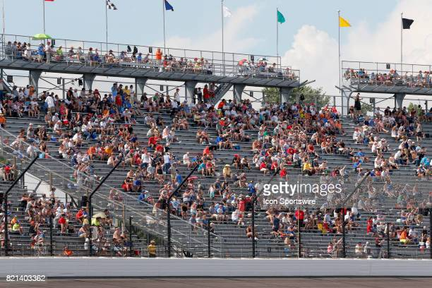The crowd was sparse in turn four after the rain delay during the NASCAR Monster Energy Cup Series Brantley Gilbert Big Machine Brickyard 400 July 23...