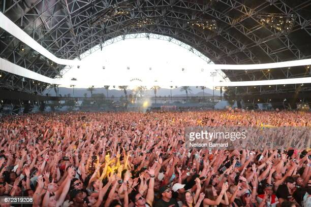 The crowd watch on as DJ Khaled performs on the Sahara Stage during day 3 of the 2017 Coachella Valley Music Arts Festival at the Empire Polo Club on...