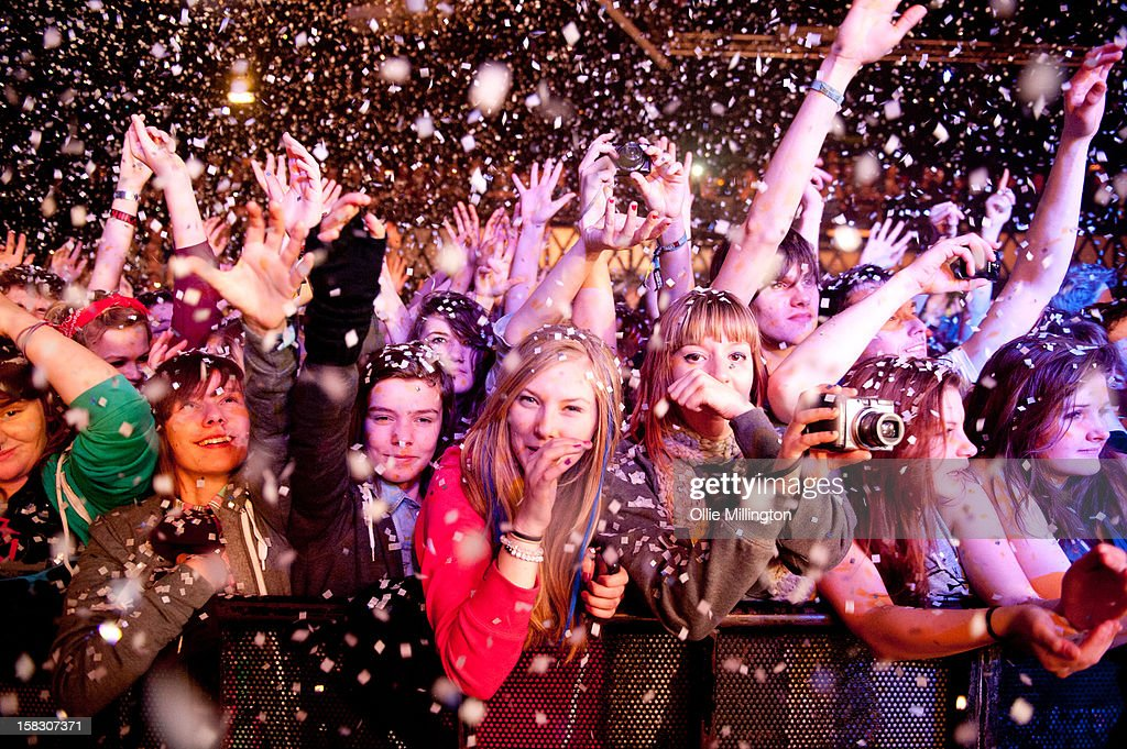 The crowd watch on as Enter Shikari Perform onstage during a day of the 5th UK leg of their A Flash Flood of Colour World Tour called A Flash Flood Of Christmas; at Rock City on December 12, 2012 in Nottingham, England.