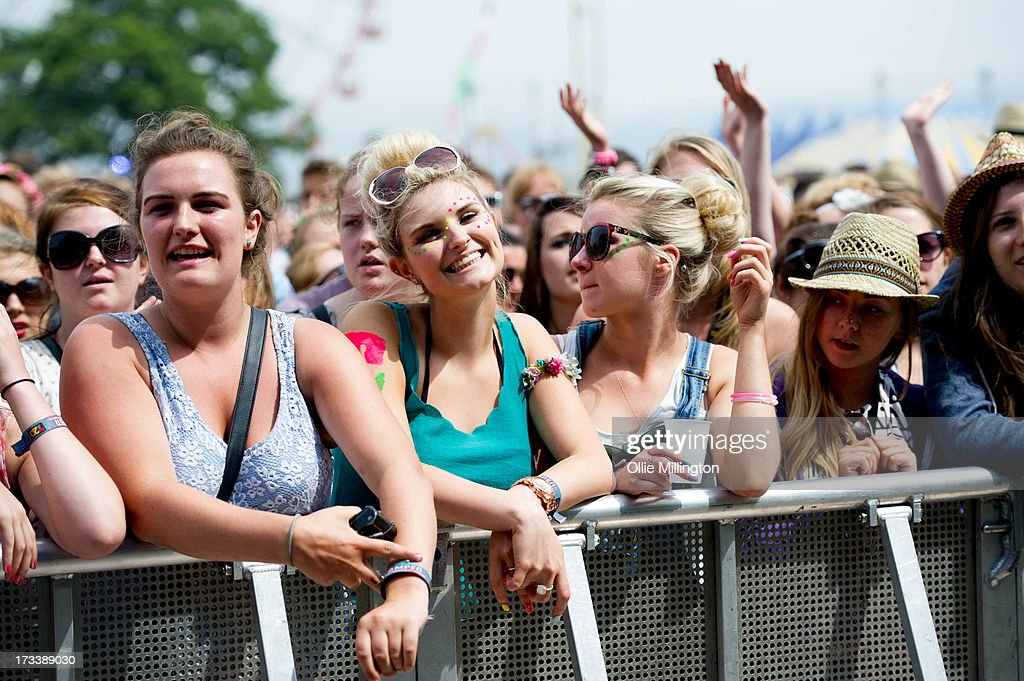 The crowd watch on as Gabrielle Aplin performs at Day 2 of the T in the Park festival at Balado on July 13 2013 in Kinross Scotland