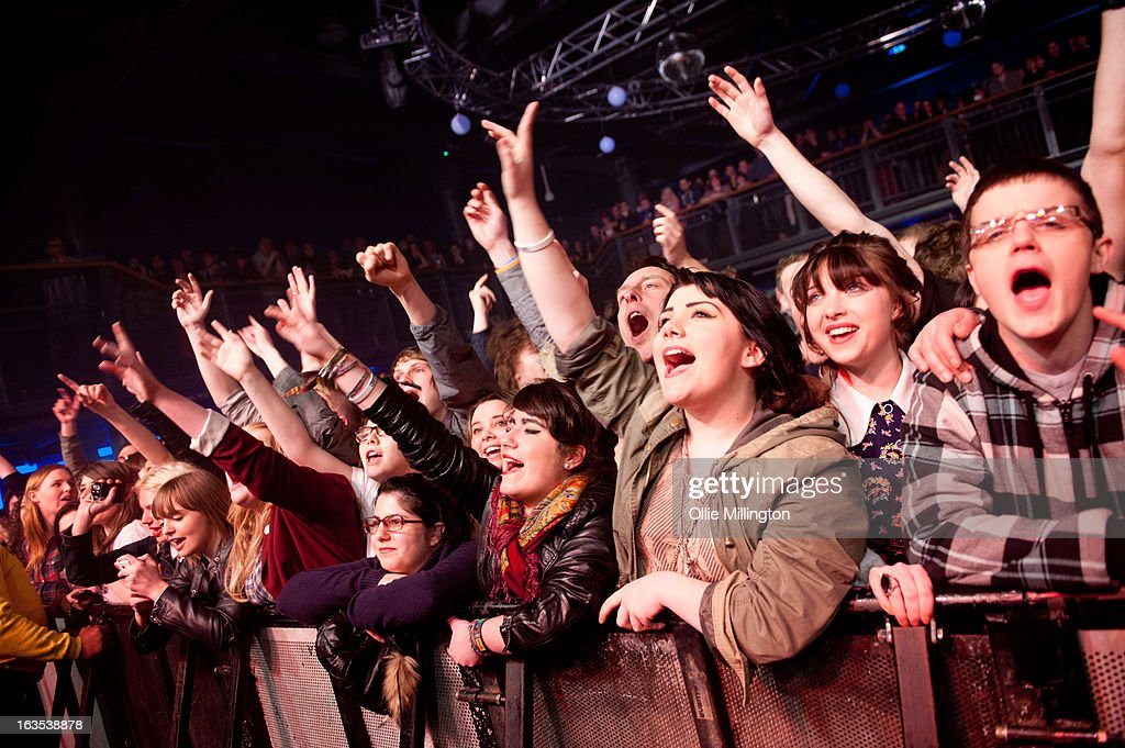 The crowd watch on as The Courteeners perform during a date of the band's February and March 2013 UK tour on stage at the O2 Academy on March 11, 2013 in Leicester, England.