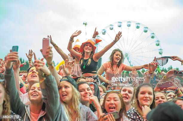 The crowd watch on as The Script perform on Day 2 of the T in the Park festival at Strathallan Castle on July 11 2015 in Perth Scotland